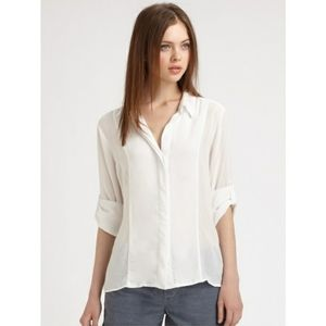 James Perse Blouse White Collared Button Down